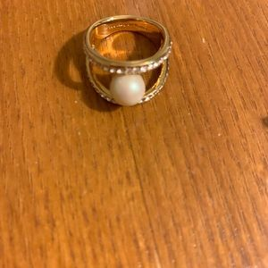 Kate Spade Gold Ring With Diamond and Pearl